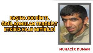 Başına 300 bin TL ödül konulan terörist etkisiz hale getirildi