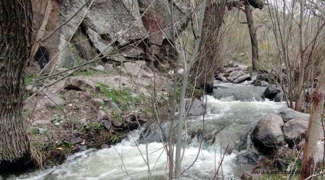 Erciyes'in karı eridi Kırlangıç Vadisi coştu