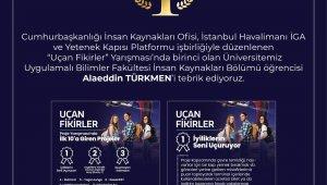 """KAYÜ Öğrencisi, """"Uçan Fikirler Yarışmasında"""" birinci oldu"""